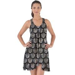 Scales3 Black Marble & Gray Stone (r) Show Some Back Chiffon Dress