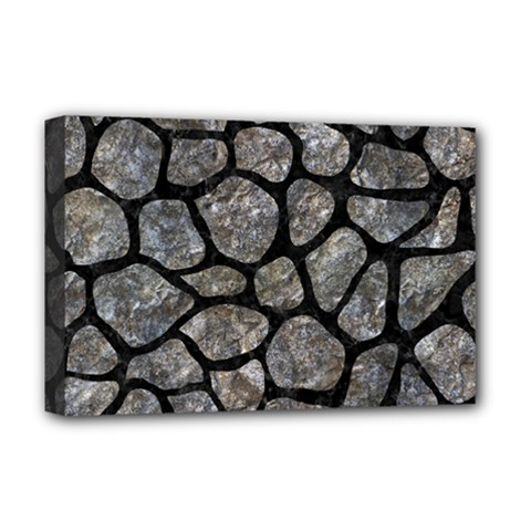 Skin1 Black Marble & Gray Stone Deluxe Canvas 18  X 12