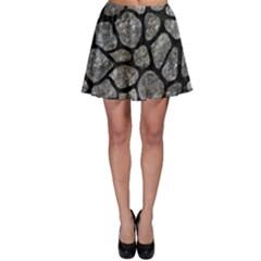 Skin1 Black Marble & Gray Stone Skater Skirt