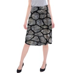 Skin1 Black Marble & Gray Stone Midi Beach Skirt