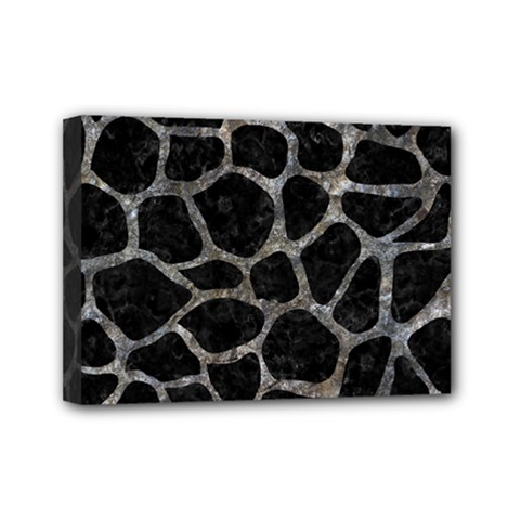 Skin1 Black Marble & Gray Stone (r) Mini Canvas 7  X 5
