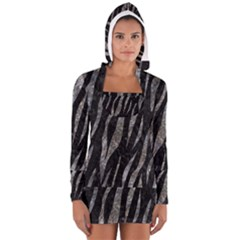 Skin3 Black Marble & Gray Stone Long Sleeve Hooded T Shirt