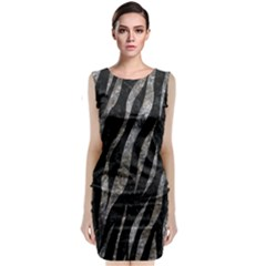 Skin3 Black Marble & Gray Stone Classic Sleeveless Midi Dress
