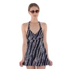 Skin3 Black Marble & Gray Stone (r) Halter Swimsuit Dress