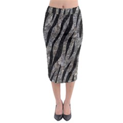 Skin3 Black Marble & Gray Stone (r) Midi Pencil Skirt