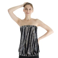 Skin3 Black Marble & Gray Stone (r) Strapless Top