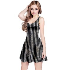 Skin4 Black Marble & Gray Stone Reversible Sleeveless Dress