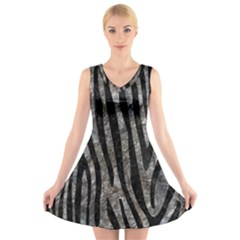 Skin4 Black Marble & Gray Stone V Neck Sleeveless Skater Dress