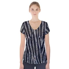 Skin4 Black Marble & Gray Stone Short Sleeve Front Detail Top