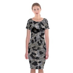 Skin5 Black Marble & Gray Stone Classic Short Sleeve Midi Dress