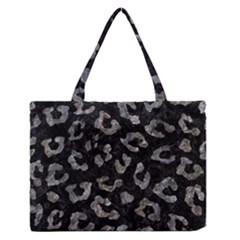 Skin5 Black Marble & Gray Stone (r) Zipper Medium Tote Bag