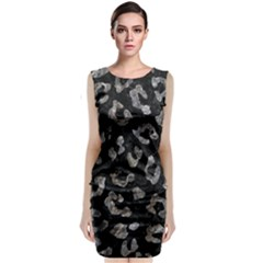 Skin5 Black Marble & Gray Stone (r) Sleeveless Velvet Midi Dress