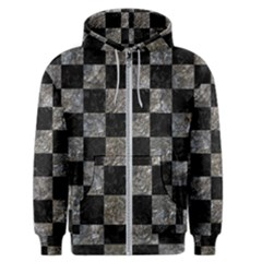 Square1 Black Marble & Gray Stone Men s Zipper Hoodie