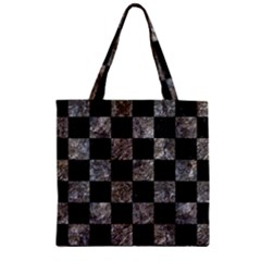 Square1 Black Marble & Gray Stone Zipper Grocery Tote Bag