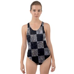 Square1 Black Marble & Gray Stone Cut Out Back One Piece Swimsuit