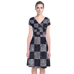Square1 Black Marble & Gray Stone Short Sleeve Front Wrap Dress