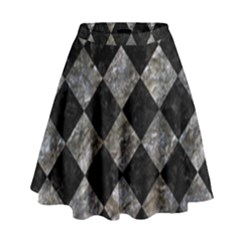 Square2 Black Marble & Gray Stone High Waist Skirt