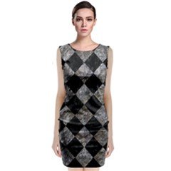 Square2 Black Marble & Gray Stone Sleeveless Velvet Midi Dress