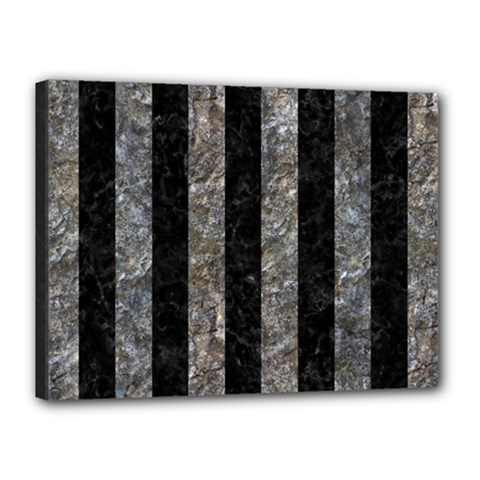 Stripes1 Black Marble & Gray Stone Canvas 16  X 12
