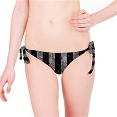 Stripes1 Black Marble & Gray Stone Bikini Bottom