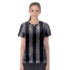 Stripes1 Black Marble & Gray Stone Women s Sport Mesh Tee