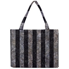 Stripes1 Black Marble & Gray Stone Mini Tote Bag