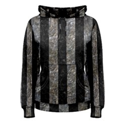 Stripes1 Black Marble & Gray Stone Women s Pullover Hoodie