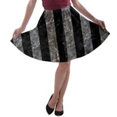Stripes1 Black Marble & Gray Stone A Line Skater Skirt