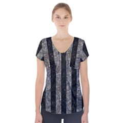Stripes1 Black Marble & Gray Stone Short Sleeve Front Detail Top