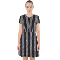 Stripes1 Black Marble & Gray Stone Adorable In Chiffon Dress