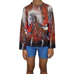 Awesome Steampunk Horse With Wings Kids  Long Sleeve Swimwear