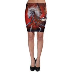 Awesome Steampunk Horse With Wings Bodycon Skirt