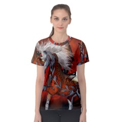 Awesome Steampunk Horse With Wings Women s Sport Mesh Tee