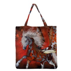 Awesome Steampunk Horse With Wings Grocery Tote Bag