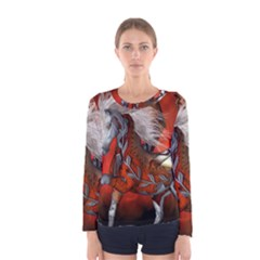 Awesome Steampunk Horse With Wings Women s Long Sleeve Tee