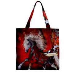 Awesome Steampunk Horse With Wings Zipper Grocery Tote Bag