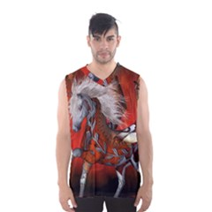 Awesome Steampunk Horse With Wings Men s Basketball Tank Top