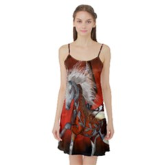 Awesome Steampunk Horse With Wings Satin Night Slip