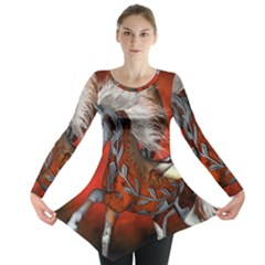 Awesome Steampunk Horse With Wings Long Sleeve Tunic