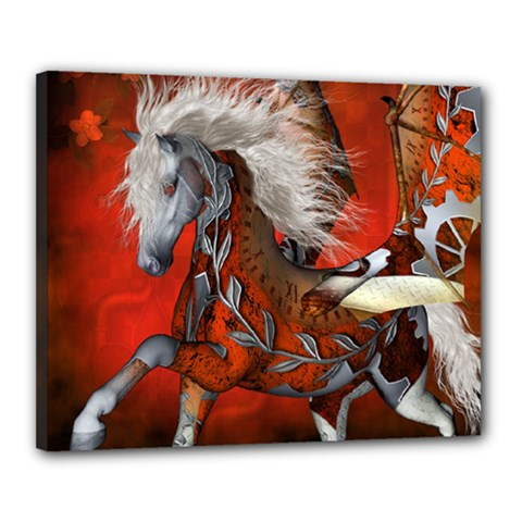 Awesome Steampunk Horse With Wings Canvas 20  X 16