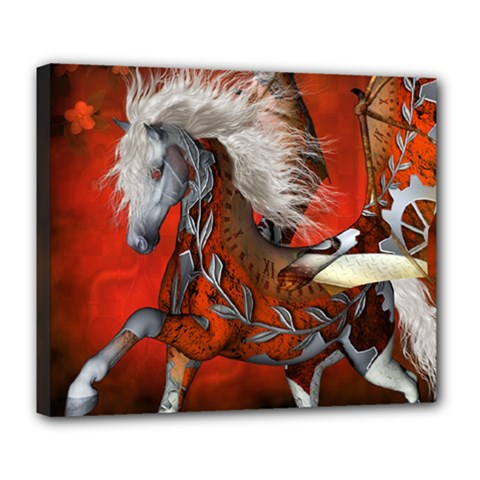 Awesome Steampunk Horse With Wings Deluxe Canvas 24  X 20
