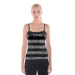 Stripes2 Black Marble & Gray Stone Spaghetti Strap Top