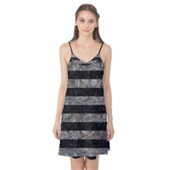 Stripes2 Black Marble & Gray Stone Camis Nightgown