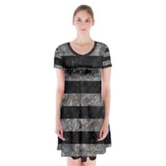 Stripes2 Black Marble & Gray Stone Short Sleeve V Neck Flare Dress