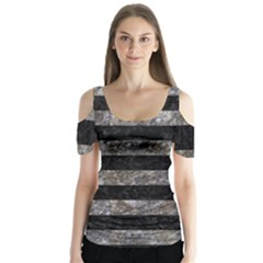 Stripes2 Black Marble & Gray Stone Butterfly Sleeve Cutout Tee