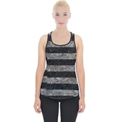 Stripes2 Black Marble & Gray Stone Piece Up Tank Top