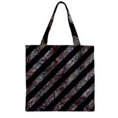 Stripes3 Black Marble & Gray Stone Zipper Grocery Tote Bag