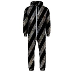 Stripes3 Black Marble & Gray Stone Hooded Jumpsuit (men)