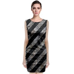 Stripes3 Black Marble & Gray Stone Classic Sleeveless Midi Dress