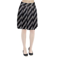 Stripes3 Black Marble & Gray Stone Pleated Skirt